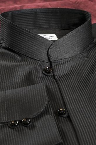 Striped Shirt, Color Black tone on tone, mandarin collar, Poplin Fabric, Made to Measure - $156