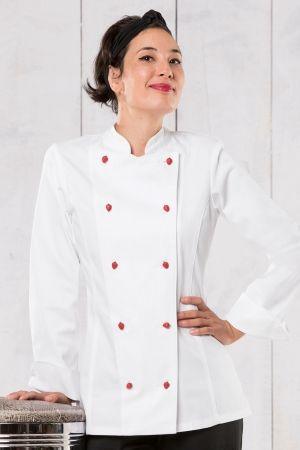 Tami Damen Kochjacke >> Die figurbetonte Damenkochjacke mit Stehkragen macht eine gute Figur in der Küche oder Backstube. Elekanter Look durch Wiener Nähte im Rücken und doppelte 5-Knopfleiste.