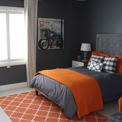 Stylish Orange And Dark Gray Bedding To Cover Gray Painted Kids Rooms Idea With Calm White Detail Over Curtains Image