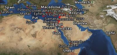 The location of every identifiable place mentioned in the Bible.