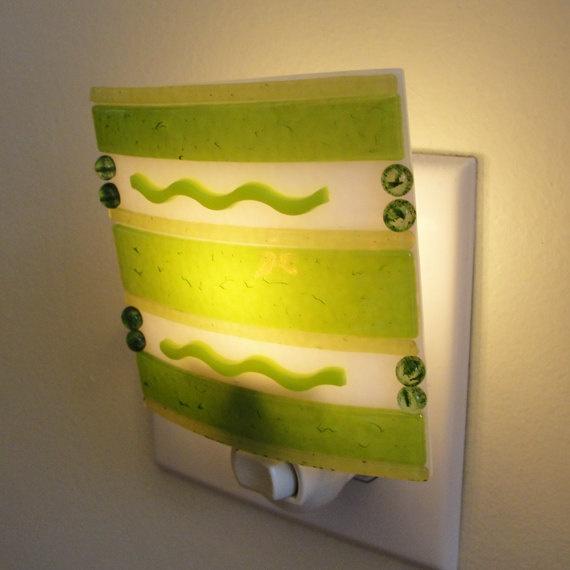 iridescent fused glass night light green night light home decor housewares lighting gifts under 35 dollars birthday gift bathroom kitchen