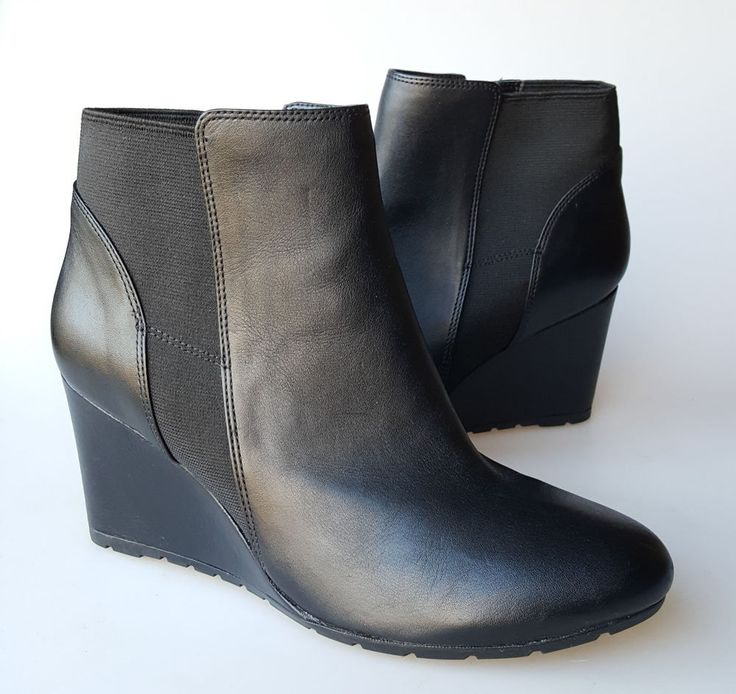 Clarks ankle boots 9 M black leather wedge heels Rosepoint Bell #Clarks #AnkleBoots #WeartoWork