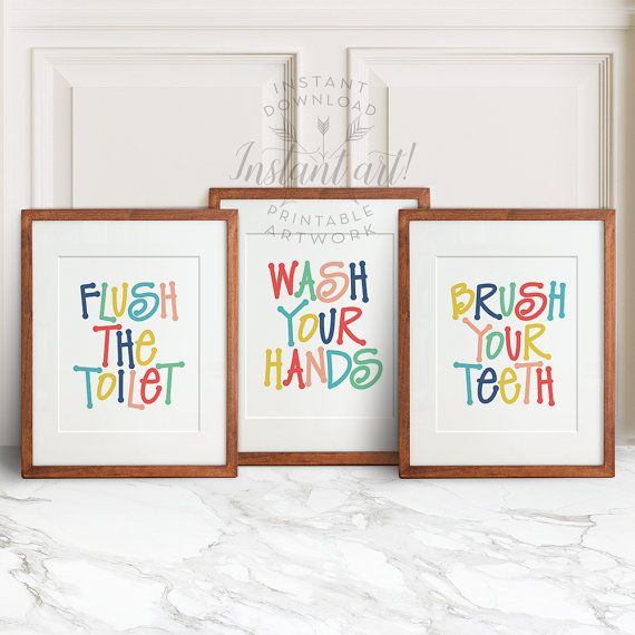 Kids Bathroom Art Set Printable Art Flush The Toilet Wash Your Hands Brush Your Teeth Colorful Bathroom Wall Decor Bathroom Wall Art
