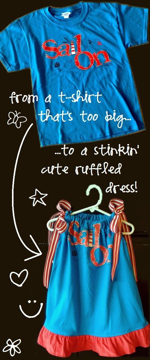 Toddler dress from child's t-shirt. I want to do this with Natalie's summer of the Bible shirt!
