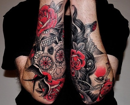 neo traditional, red, black and white, skull, woman, roses ...