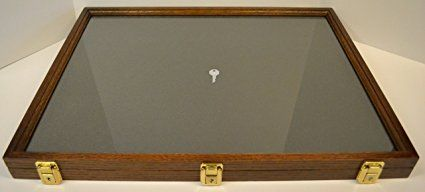 "Two Timbers Display Case Oak with Walnut Finish 2""x18""x24"" Handmade Wood Box with Glass Top, Arrowheads, Knives, Rocks, Minerals, Pins, Collectibles, Collections, Memorabilia, Medals, Military, Coins, 4h, Science Fair, Memory Box, Keepsakes"