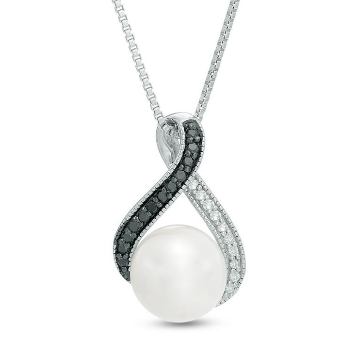 Zales 9.0mm Cultured Freshwater Pearl and 1/8 CT. T.w. Enhanced Black and White Diamond Loop Pendant in Sterling Silver a7hctUnJt
