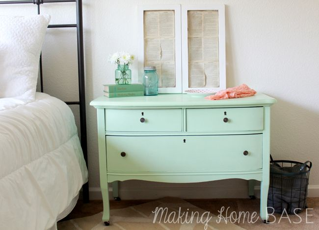 Mint Painted Nightstand Mint Home Decor with Paint  Lowe's Olympic Sweet Pea is the color