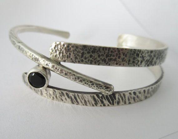 Sterling silver bracelet black onyx handmade branches twig