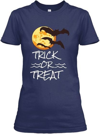 Trick Or Treat Navy Women's T-Shirt Front