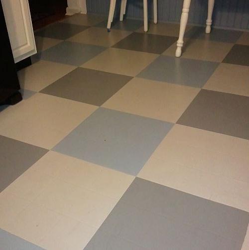 Painting vinyl tile floors before and after gurus floor for Best paint for vinyl floors