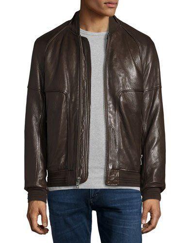 Hughes Leather Baseball Jacket w/Removable Fur Lining, Espresso