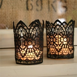votive candle holder, votive candle with lace glued