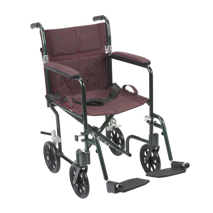 """Drive fw17bg Flyweight Lightweight Folding Transport Wheelchair, 17"""", Green Frame. The Deluxe 17"""" Fly Weight Aluminum Transport Chair by Drive Medical, available in a variety of attractive colors (frame and upholstery), weighs about 30% less than traditional transport chairs. Weighing only 19 pounds, this chair has a deluxe back release that folds down the back, and the lightweight aluminum frame combine to make this chair easy and convenient to store and transport. The composite, 8"""" caster…"""