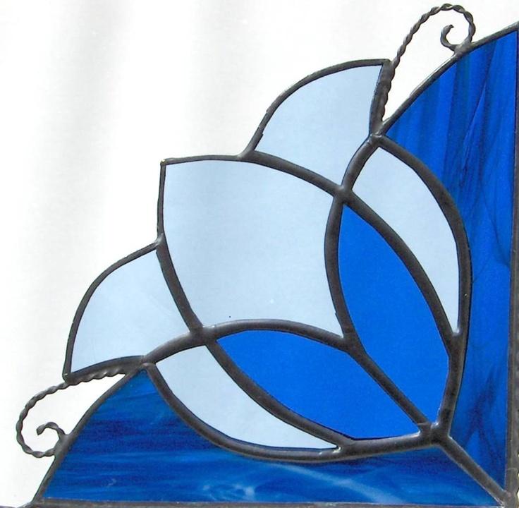 stained glass window corner/ Victorian tulip design  /  blue. $30.00, via Etsy.