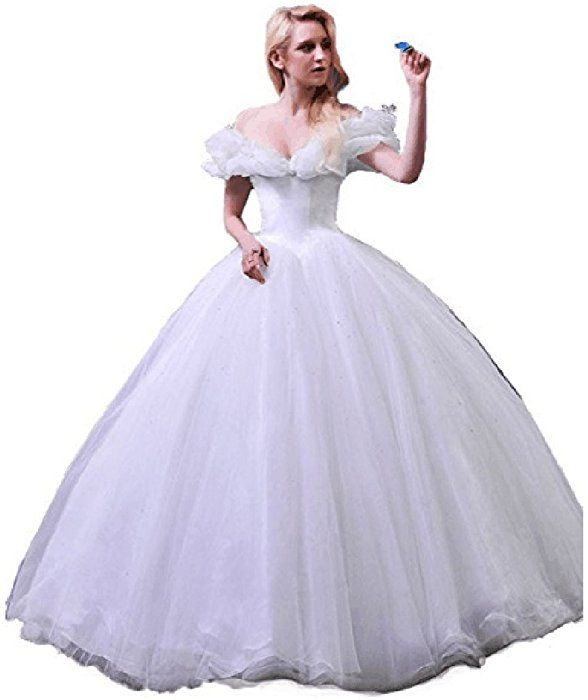 4ff31711ea3 Amazon.com  Chupeng Women s Princess Costume Butterfly Off Shoulder  Cinderella Prom Gown Wedding Dresses Evening Gown Quinceanera Dress White  10  Clothing