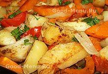 Запеченная тыква с картошкой в духовке