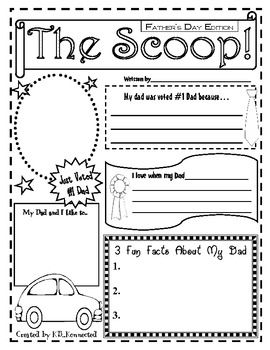 Celebrate Father's day with this fun one page newspaper. Students can personalize it for their dad. Makes a great keepsake for parents.Versions...