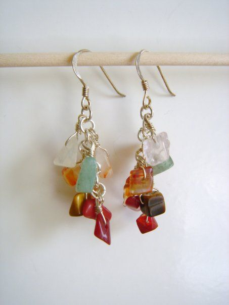 Earrings I made. Semi-precious chip stones