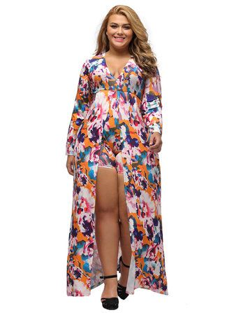 Only US$48.65 , shop Sexy Women Printed Deep V-Neck Long Sleeve Furcal Culotte Dress at Banggood.com. Buy fashion Vintage Dresses online.