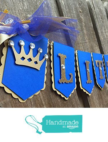 Little Prince, royal theme banner Royal blue and gold It's a boy, baby shower banner, gender reveal first birthday photo prop from Glittermama