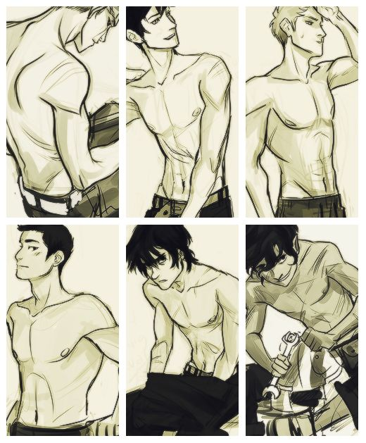 Viria drew all the guys shirtless. Oh my gods. I know Percy Jason and Frank have their girls nut how do the others not have girls oh wait I know Luke is dead and Thalia is a hunter << Oh. My. Gosh!
