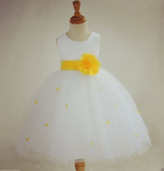 Ivory Sunbeam Yellow Rosebud Flower girl dress by ekidsbridalusa
