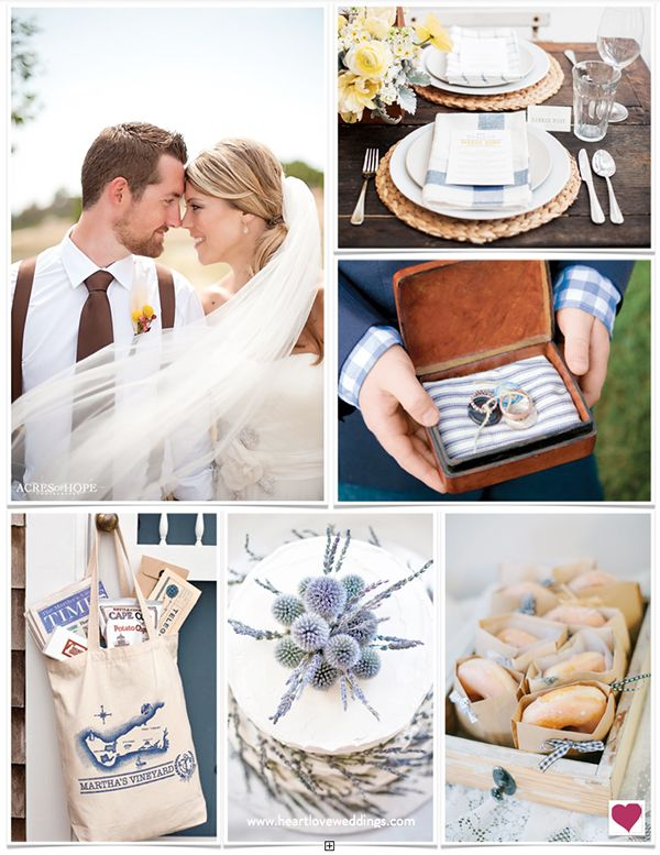 A preppy New England wedding theme is something everyone can relate to in our navy blue, cream and brown, Martha's Vineyard wedding inspiration board.