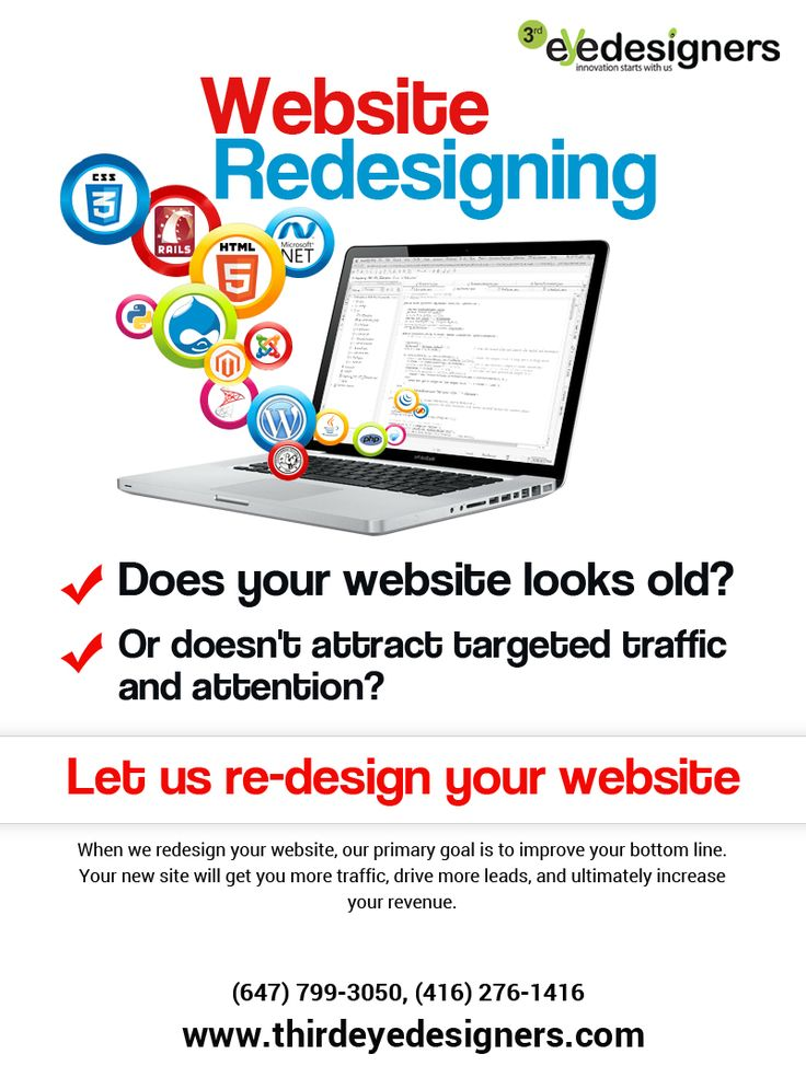 When we #redesign your website, our primary goal is to #improve your #image , #traffic, #ranking, #leads and #sales. #WebsiteRedesigning #websiteDesignBrampton #WebsiteDesignMississauga #websiteDesignToronto Contact us: 647-799-3050, 416-276-1416 For get free quotes:  http://www.thirdeyedesigners.com/request-a-quote.php