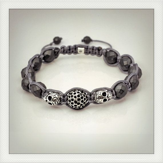 Grey skulls macrame and pave bead bracelet