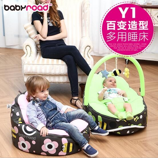 Baby seat / recliner chair with play bar over top. As child grown chair can convert to a beanbag chair for them by simply taking the bar off the top. $92.64 from Aliexpress