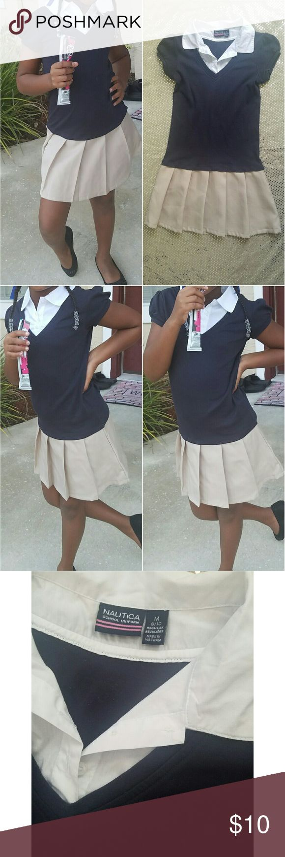 📚✏BACK TO SCHOOL SALE Nautica Uniform Combo Get your hands on this high quality skirt/shirt combo!  Navy Blue top Khaki Skirt White collar  No fading, in GREAT condition.  Medium (8/10) Nautica Dresses Casual