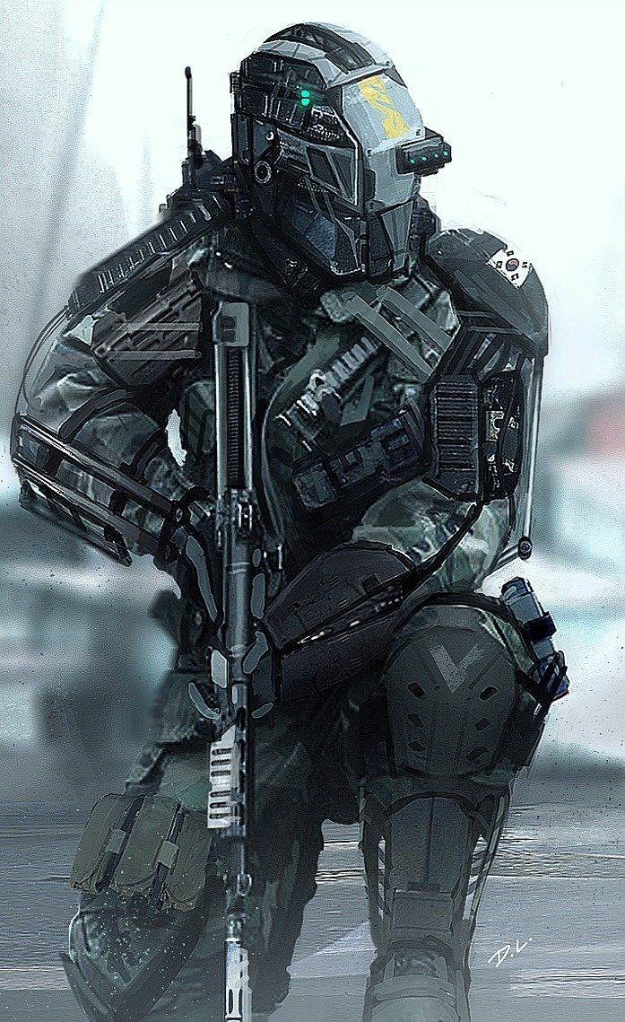 Dyna-Tec Industries South Korean Soldier, Dom Lay on ArtStation at https://www.artstation.com/artwork/dyna-tec-industries-south-korean-soldier