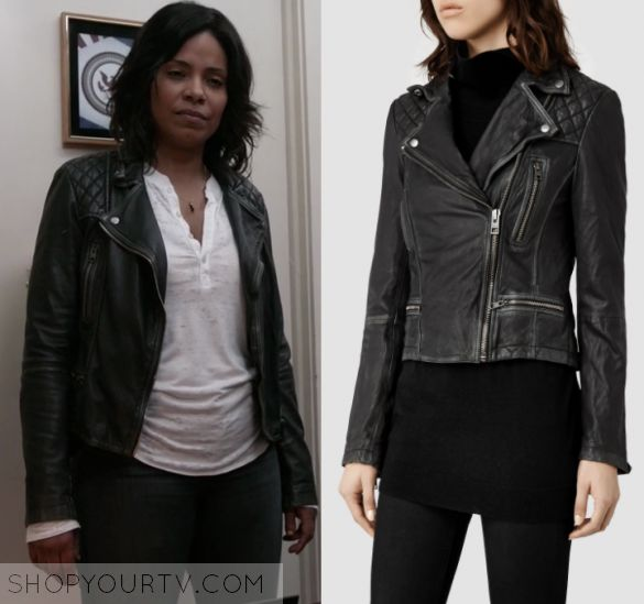 """Shots Fired: Season 1 Episode 9 Ashe's Black Quilted Leather Jacket   Shop Your TV Ashe Akino (Sanaa Lathan) wears this black quilted shoulder leather jacket in this episode of Shots Fired, """"Hour Nine: Come to Jesus"""".  It is the AllSaints Cargo Leather Biker Jacket."""