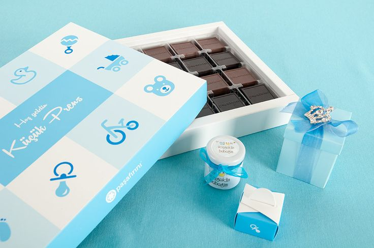 Küçük prensler için mavi çikolata kutuları #babyshower #çikolata