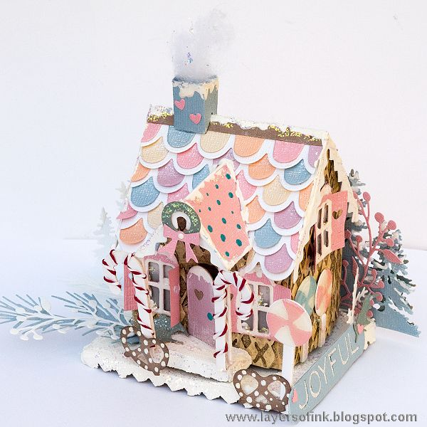 Layers of ink - Pastel Paper Gingerbread House Tutorial by Anna-Karin. Sizzix dies by Tim Holtz and Ranger Ink pastes and mediums. Lots of shine and shimmer.