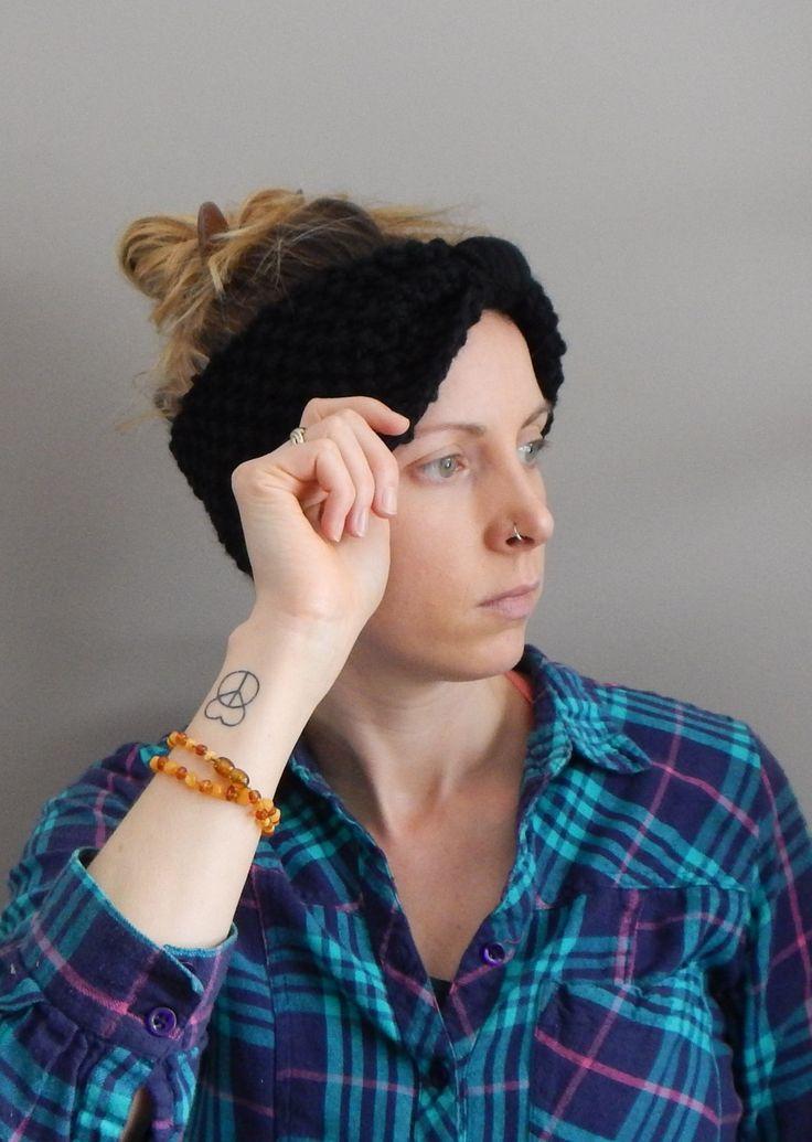 Headband knit in black wool, black knit ear warmer, chunky wool knit head turban, black head band, versatile head wear, boho style by LoveEweNatural on Etsy
