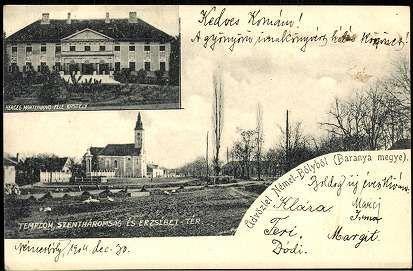 Üdvözlet Németbolyból (Baranya megye); Herceg Montenuovo-féle kastély; Templom, Szentháromság és Erzsébet tér | Képeslapok | Hungaricana