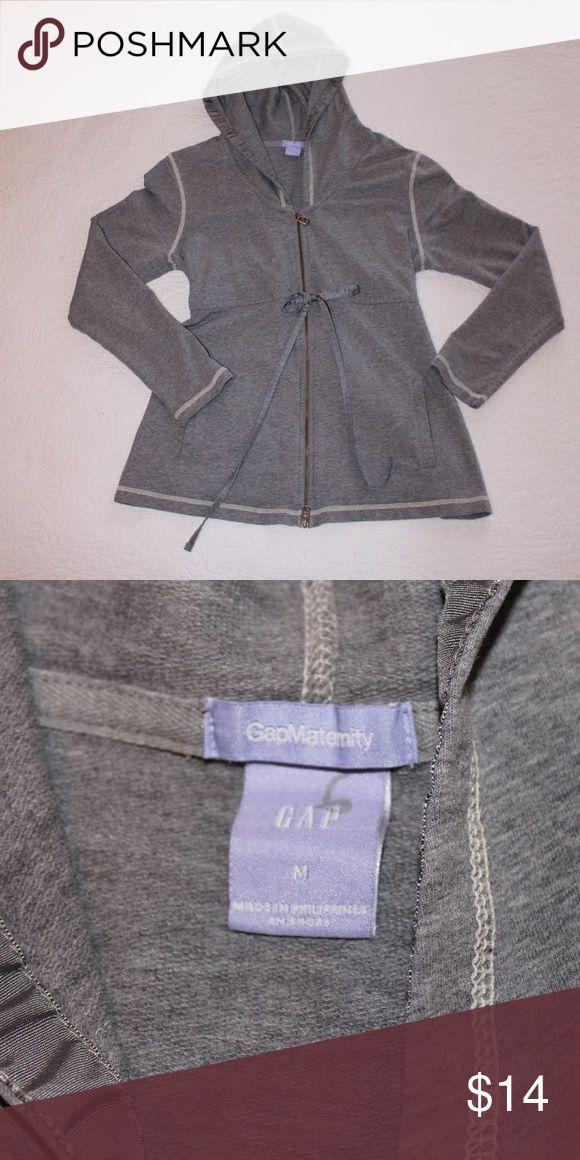 GAP Maternity - Gray Zip Up Hoodie Maternity hoodie with full zip and tie for waist cinching. GAP Tops Sweatshirts & Hoodies