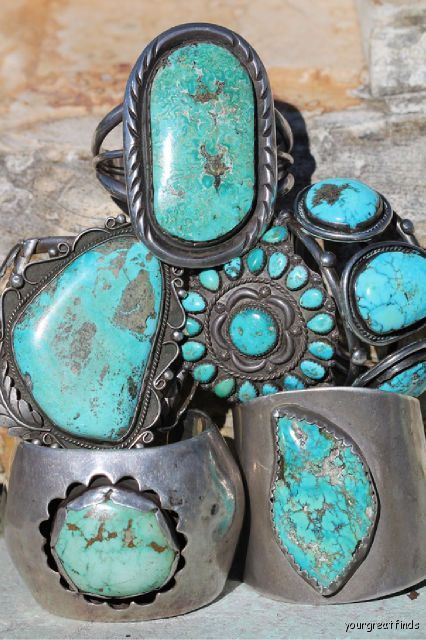 Stack of early Navajo turquoise bracelets. Courtesy of yourgreatfinds...ebay