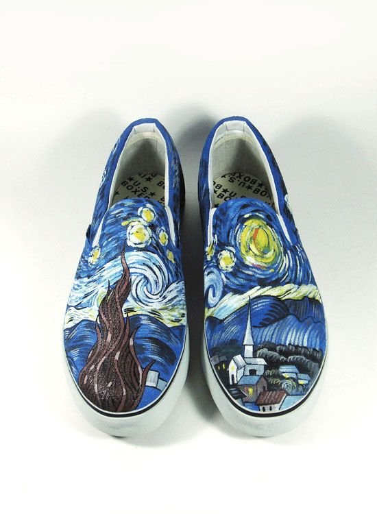 Custom Shoes The Starry Night by Vincent Van by AnnatarCustomizer, $80.00