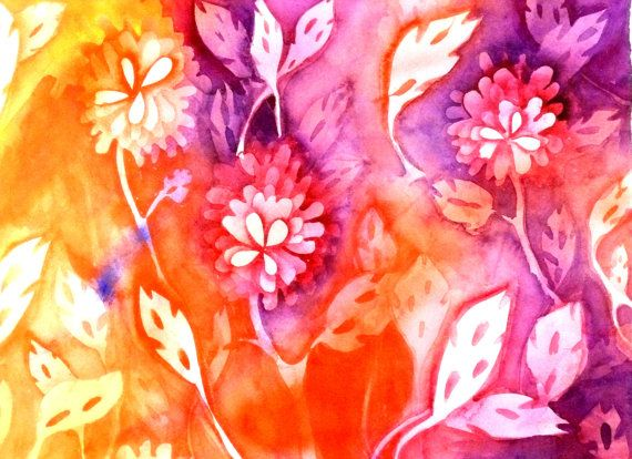Botanical Floral Art Watercolors Painting  by BlueSkyFineArt