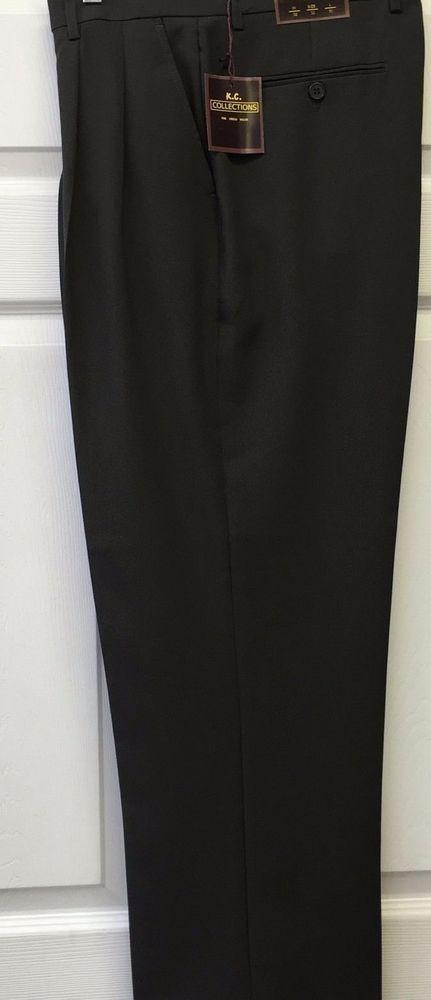K.C. Collections Solid Green 2-Pleat Men's Dress Pants Regular Hem See Photos #KCCollections #DressPleat