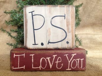 Details about Primitive Country P.S. I Love You Valentine Holiday Shelf Sitter Wood Block Set