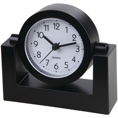 "TIMEKEEPER TK6851 4"""" Swivel Black Desktop Clock"