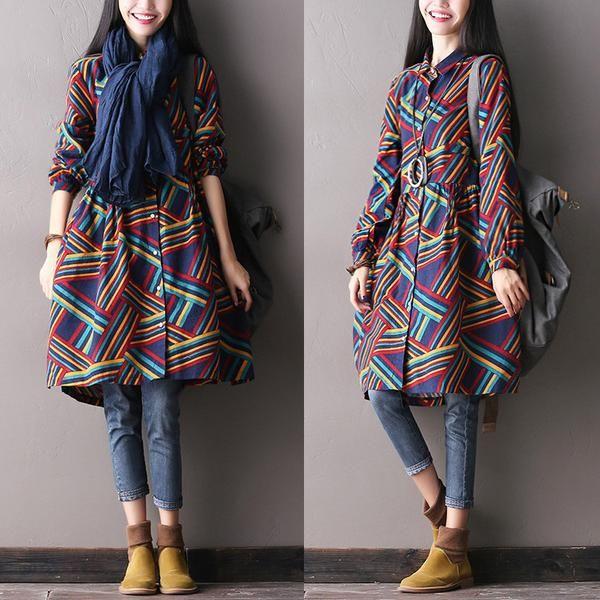 Cotton Stitching Autumn Korean Stripe Dress