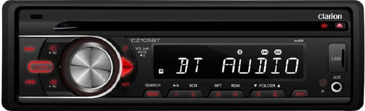 Clarion CZ105BT CD/USB/AUX-IN/SD/MP3/WMA Receiver with Built-In Bluetooth. 13-Segment, 8-Digit, 1-Line LCD Display Front 3.5mm AUX Input Front USB input SD Card Slot. Bluetooth A2DP and HFP iPod/iPhone Direct Controls vis Front USB MP3/WMA Playback from Front USB 4-Channel /2 Volt preamp Output. High-Pass Electronic Crossover 3 Band Paragraphic Equalizer Rotary Volume Knob Control Detachable Face Place. OEM Steering Wheel Controller Ready Wireless Infrared Remote Control Included. This is…