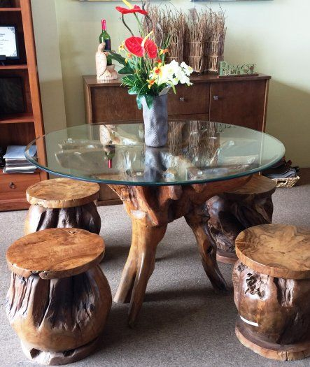 Hilo Hawaii Teak Wood Furniture Stools Dining Room