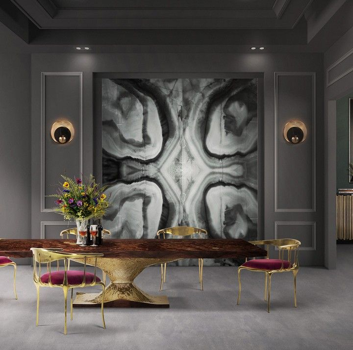 METAMORPHOSIS DINING TABLE - With a surface made in walnut root veneer and with special textured details that represent a fossil. | See more: www.bocadolobo.com #bocadolobo #furniture #diningtable