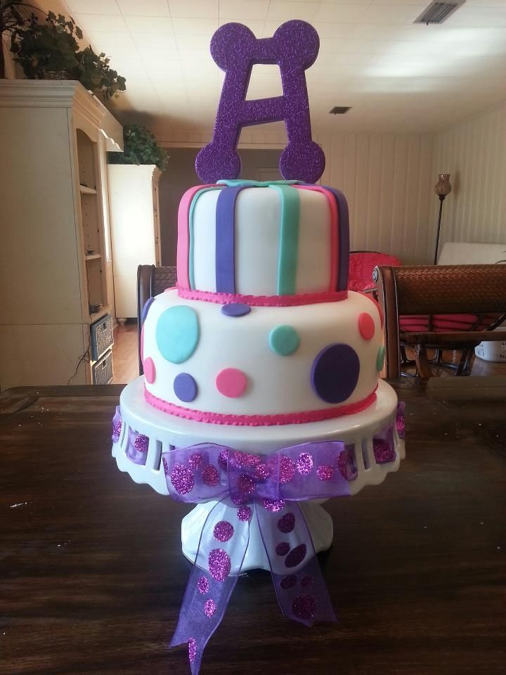 Purple Teal And Hot Pink Baby Shower Cake Baby Shower
